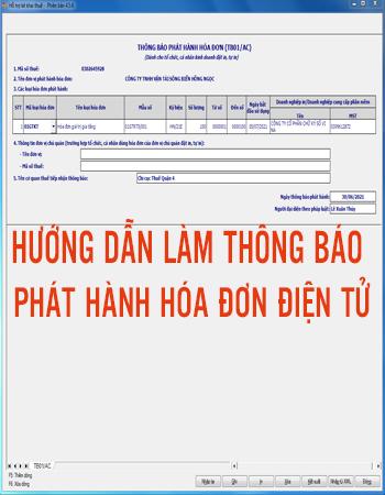 Hướng dẫn làm thông báo phát hành hóa đơn