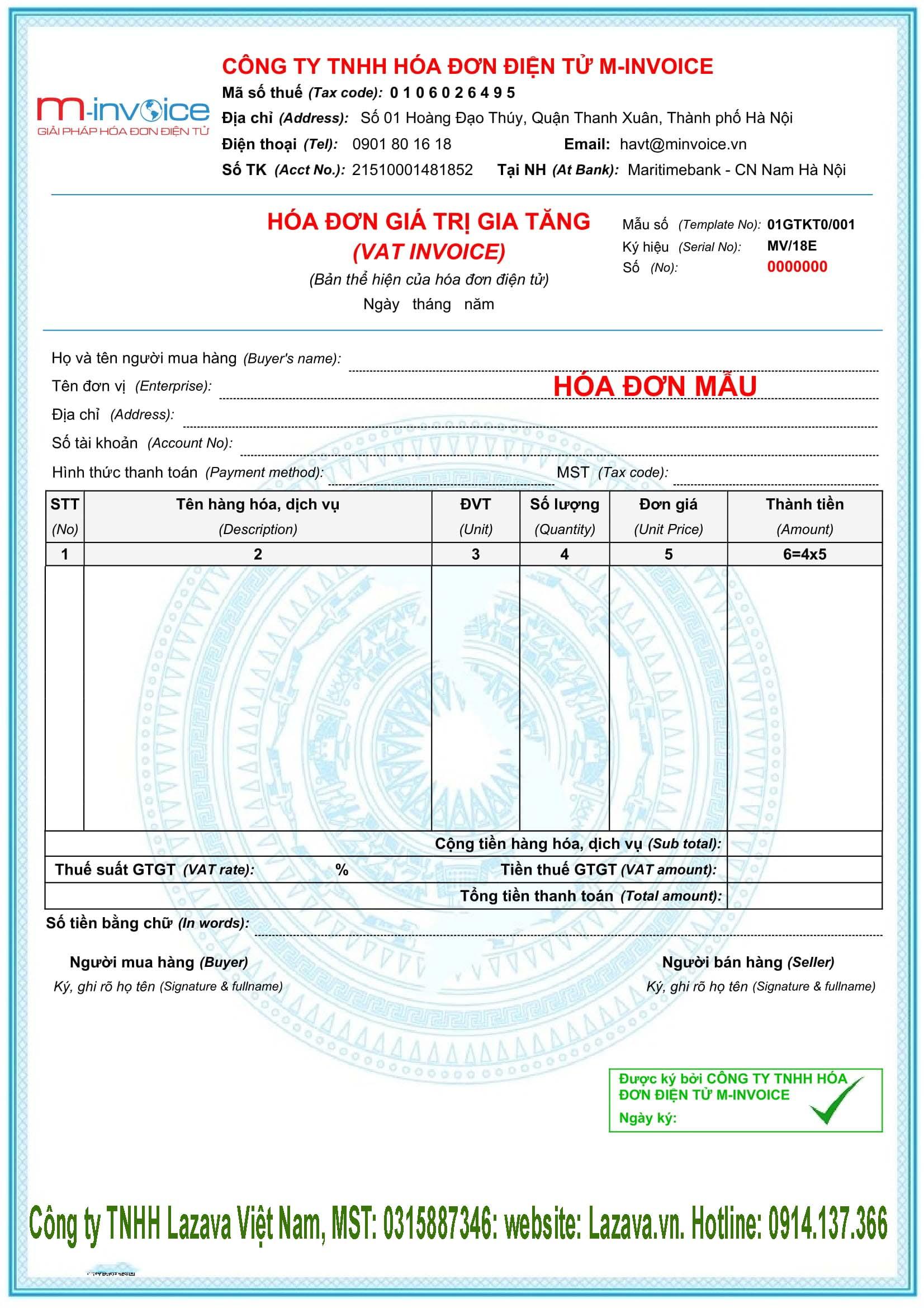 Xem mẫu hóa đơn điện tử
